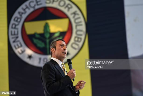 Turkish businessman and newly elected Fenerbahce chairman Ali Koc speaks during a gathering at the Ulker Stadium in Istanbul on June 5 in Istanbul...