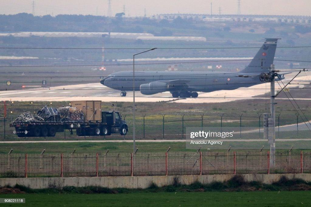 Turkish cargo plane is seen after landing at the Incirlik