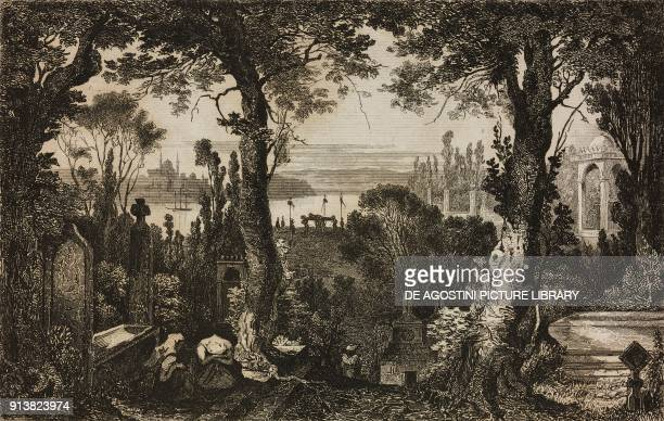 Turkish cemetery engraving by Lemaitre and Thienon from Turquie by Joseph Marie Jouannin and Jules Van Gaver L'Univers pittoresque Europe published...