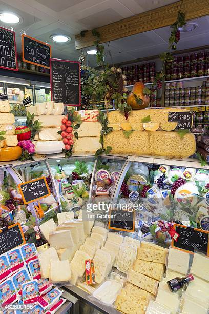 Turkish cheese and dairy products in refrigerated cabinet at food market Kadikoy district Asian side Istanbul East Turkey