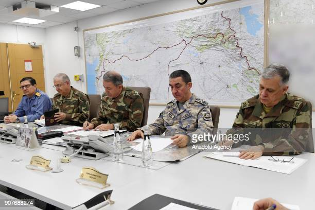 Turkish Chief of General Staff Gen Hulusi Akar conducts the 'Operation Olive Branch' to Afrin as Commander of the Turkish Land Forces Yasar Guler...