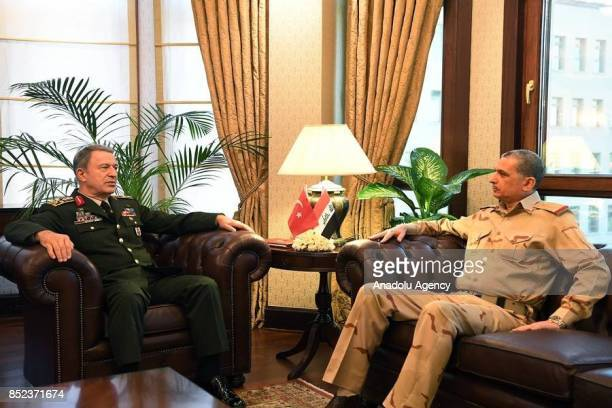 Turkish Chief of General Staff Gen Hulusi Akar meets Iraqi Chief of General Staff Osman Ganimi in Ankara Turkey on September 23 2017