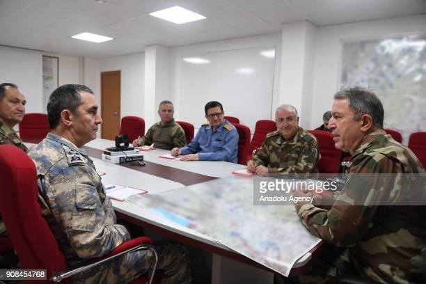 Turkish Chief of General Staff Gen Hulusi Akar speaks Commander of the Turkish Air Forces Hasan Kucukakyuz Commander of the Turkish Land Forces Yasar...