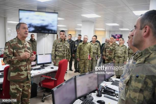 Turkish Chief of General Staff Gen Hulusi Akar speaks with soldiers and Commander of the Turkish Air Forces Hasan Kucukakyuz Commander of the Turkish...