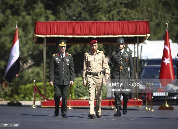 Turkish Chief of General Staff Gen Hulusi Akar welcomes Iraqi Army Chief of Staff Gen Othman alGhanimi with official ceremony prior to their meeting...