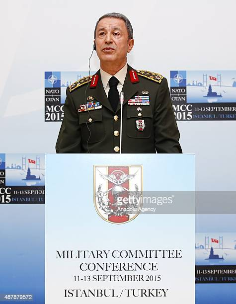 Turkish Chief of General Staff General Hulusi Akar speaks to the media during a press conference after the NATO Military Committee Conference in...