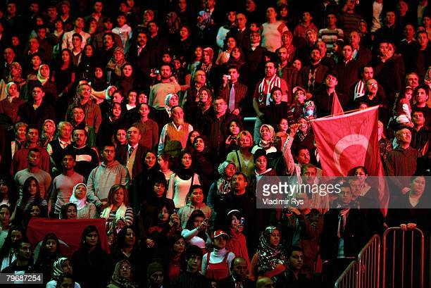 Turkish citizens are seen in the sold out KoelnArena prior to the speach of the Turkish Prime Minister Recep Tayyip Erdogan on February 10 2008 in...