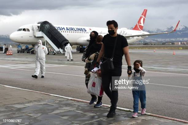 Turkish citizens arrive at the airport after a plane of Turkey's national carrier Turkish Airlines, evacuated the citizens stranded in Saudi Arabia...