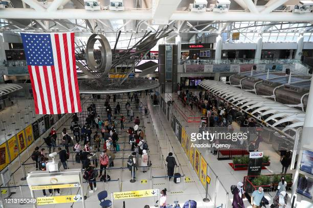 Turkish citizens wait at John F. Kennedy International Airport, ahead of their departure to Turkey, on May 15, 2020 in New York, United States....