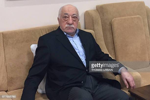 Turkish cleric and opponent to the Erdogan regime Fethullah Gülen adresses at his residence in Saylorsburg Pennsylvania on July 18 2016 allegations...