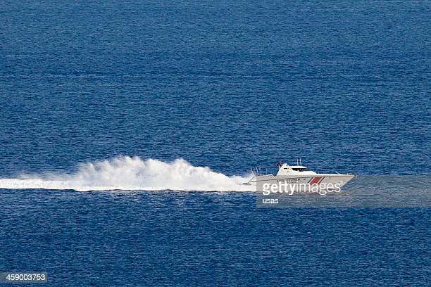 Turkish Coast Guard boat is going to high-speed