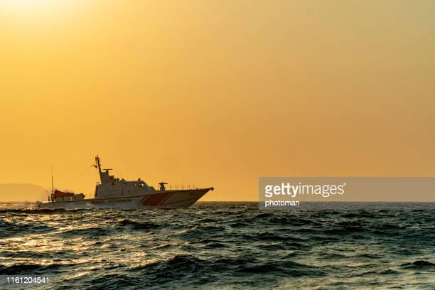 turkish coast guard ships on duty. - seascape stock pictures, royalty-free photos & images