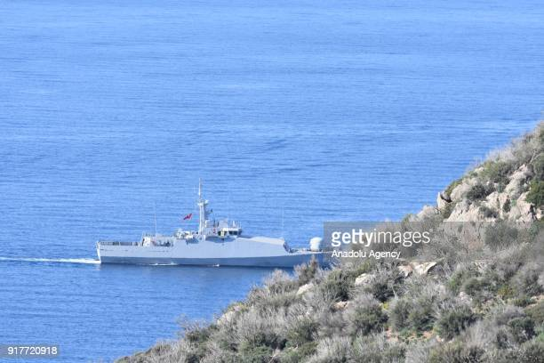 Turkish Coast Guard vessel patrols around Kardak islet in the Aegean Sea in Mugla Turkey on February 13 2018 Patrolling activities by Turkish Coast...