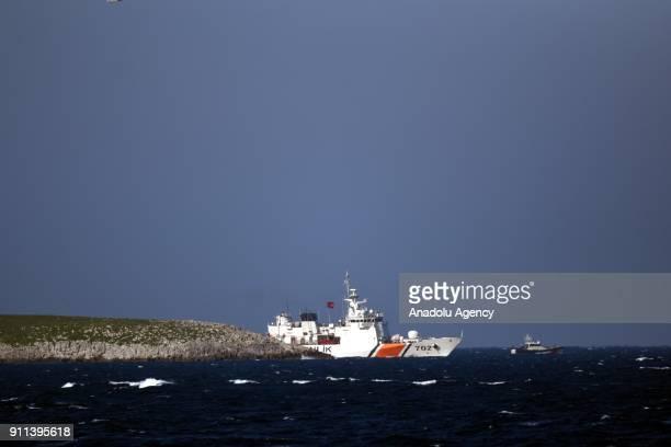 Turkish Coast Guards are seen patrolling around Kardak islet in the Aegean Sea on the 22nd anniversary of Kardak crisis in Mugla Turkey on January 28...