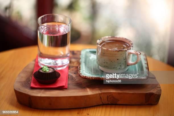Turkish Coffee and chocolate bar above