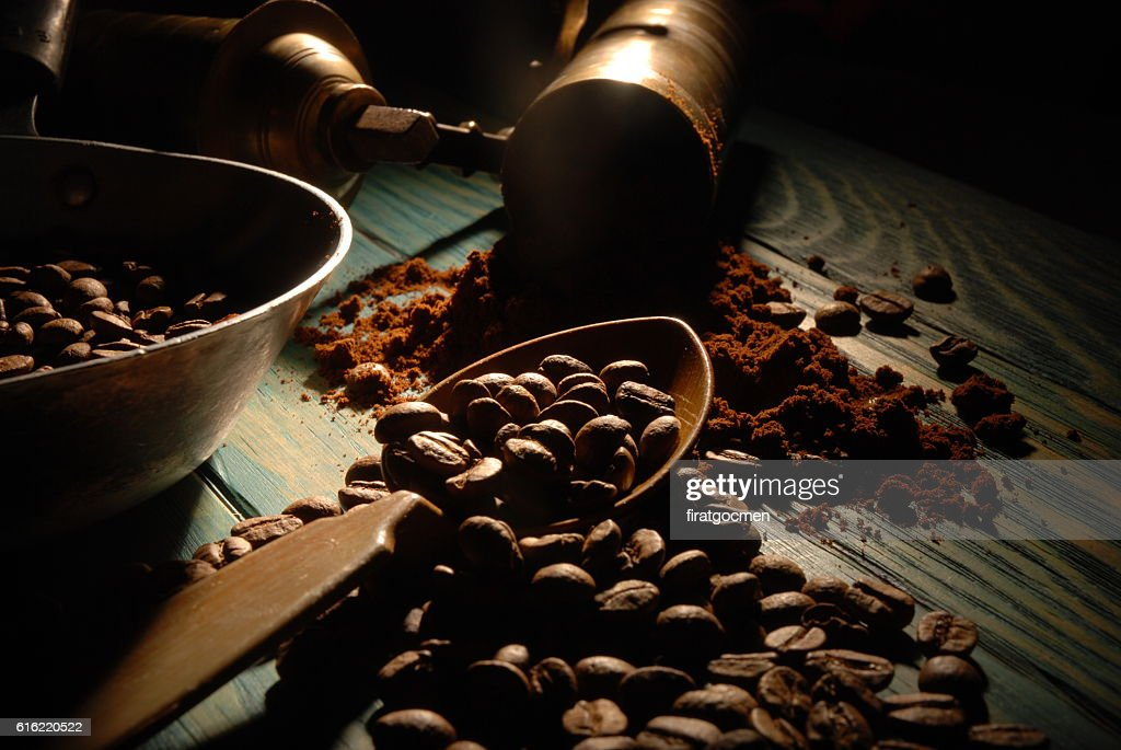Turkish coffee and girinder : Stock-Foto