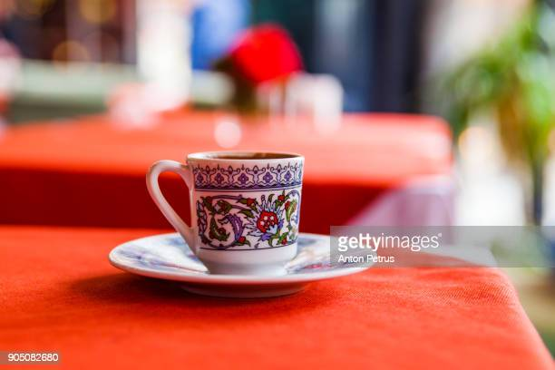Turkish coffee on the table in the restaurant