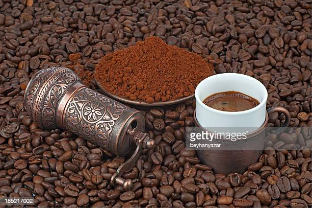 turkish coffee - coffee grinder stock photos and pictures