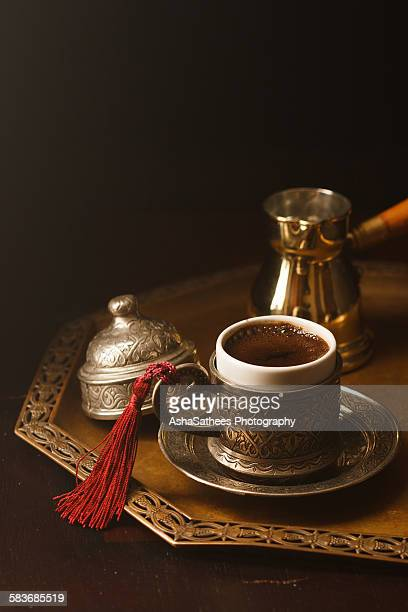 Turkish Coffee served in antique tray