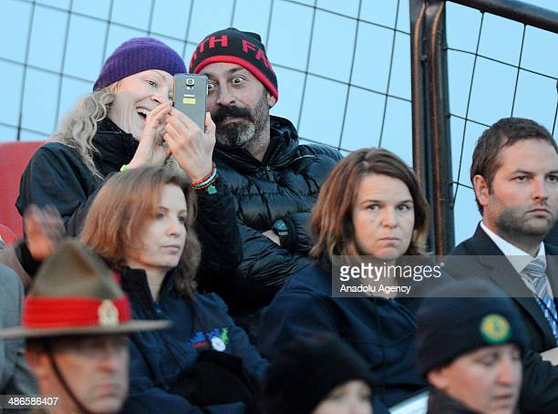 Turkish comedian and actor Cem Yilmaz attends the Dawn Service in Anzac Cove in commemoration of the 99th anniversary of Gallipoli land campaign...