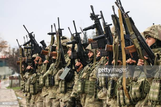 Turkish commandos swear an oath before they move towards to Syrian border as part of the 'Operation Olive Branch' in Hatay Turkey on January 23 2018...