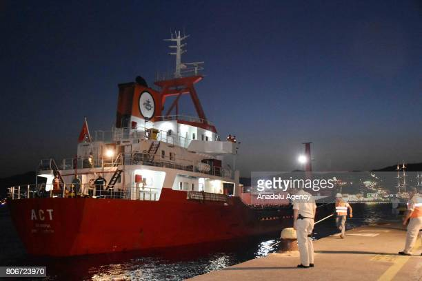 """Turkish commercial vessel named """"ACT"""" docks after Greek coastal guard boats allegedly opened fire on it on Aegean shores of Mugla, Turkey on July 03,..."""