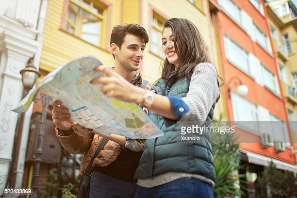 Turkish Couple Using Paper Map