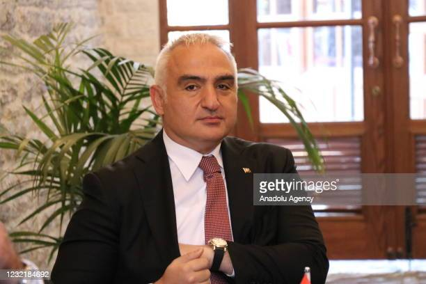 Turkish Culture and Tourism Minister Mehmet Nuri Ersoy meets with Albanian Prime Minister Edi Rama at a place under the Pazar Mosque restored by the...