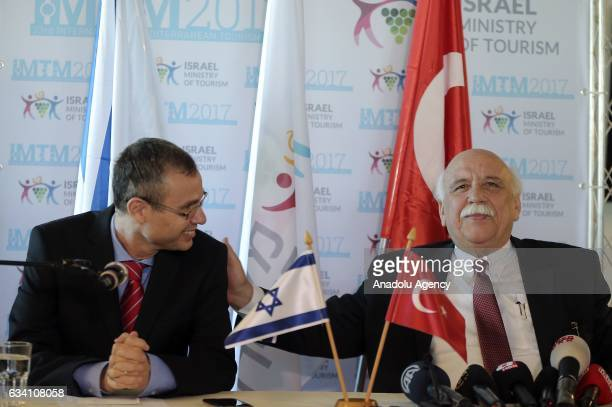 Turkish Culture and Tourism Minister Nabi Avci and Israeli Tourism Minister Yariv Levin attend joint press conference after their talks at TLV...