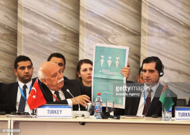 Turkish Culture and Tourism Minister Nabi Avci delivers a speech during a session titled Advancing Intercultural Dialogue New Avenues for Human...