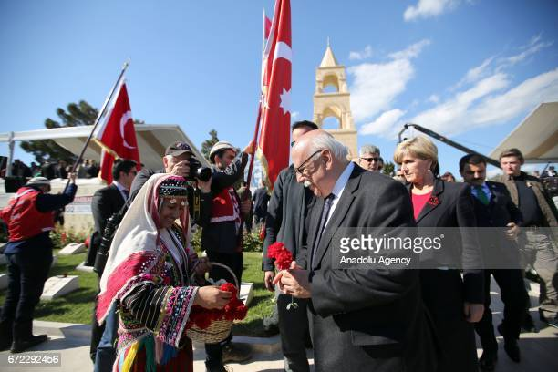 Turkish Culture and Tourism Minister Nabi Avci lays flowers to martyrs' cemetery during the ceremony marking the 102nd anniversary of the Canakkale...