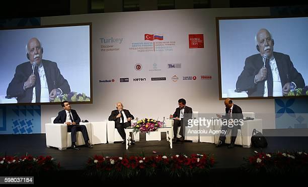 Turkish Culture and Tourism Minister Nabi Avci Turkish Economy Minister Nihat Zeybekci attend TurkeyRussia Media Forum in Antalya Turkey on August 31...