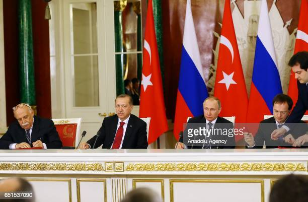 Turkish Culture and Tourism Minister Nabi Avci Turkish President Recep Tayyip Erdogan and Russian President Vladimir Putin attend a cooperation...