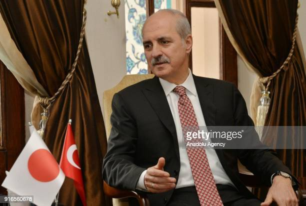 Turkish Culture and Tourism Minister Numan Kurtulmus attends a meeting with Japan's Minister of State for Space Policy Masaji Matsuyama in Ankara...