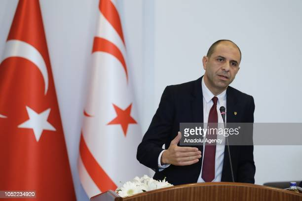 """Turkish Cypriot counterpart Kudret Ozersay makes a speech during a symposium titled """"Politics and Law in East Mediterranean"""" at Ankara University in..."""