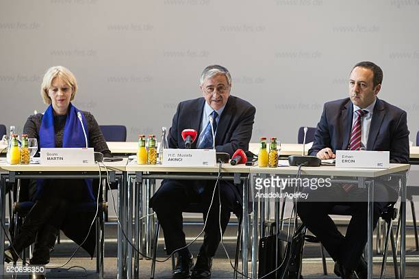 Turkish Cypriot President Mustafa Akinci attands a round table meeting organized on the Cyprus negotiations at the Friedrich Ebert Foundation in...