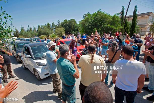 Turkish Cypriots living in the north protest against the closure of gates by the internationallyrecognised Cypriot government in an attempt to stop...