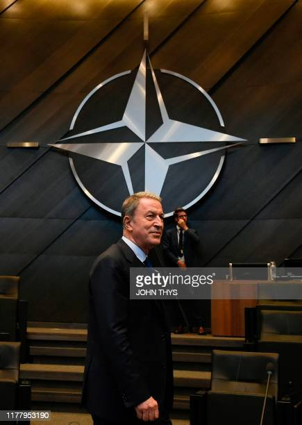 Turkish Defence minister Hulusi Akar arrives for a NATO defence ministers meeting at the NATO headquarters in Brussels on October 24 2019