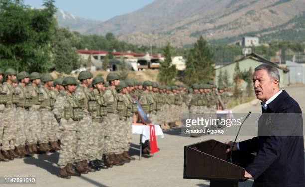 Turkish Defence Minister Hulusi Akar greets soldiers of 'Operation Claw' within Eid al-Fitr in Hakkari, Turkey on June 4, 2019.