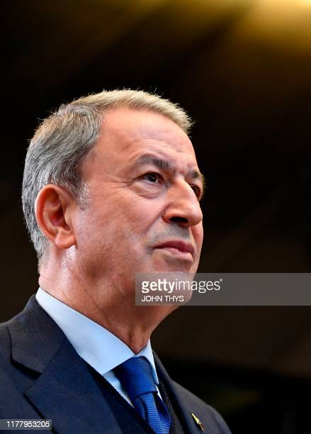 Turkish Defence minister Hulusi Akar looks on during a NATO defence ministers meeting at the NATO headquarters in Brussels on October 24 2019