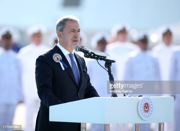 Turkish Defence Minister Hulusi Akar makes a speech as he attends handover ceremony of TCG Kinaliada, the fourth ship of the MILGEM project -- a...