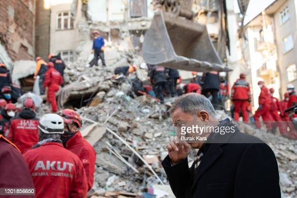 Turkish Defence Minister Hulusi Akar visits the earthquake site on January 25, 2020 in Elazig, Turkey. The 6.8-magnitude earthquake injured more than...