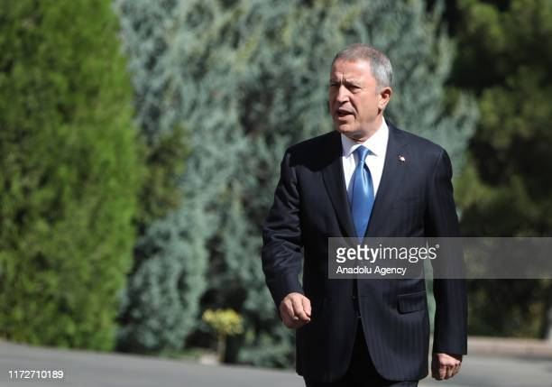 Turkish Defence Minister, Hulusi Akar welcomes Montenegrin Defense Minister, Predrag Boskovic with a military ceremony at Turkish Defence Ministry in...
