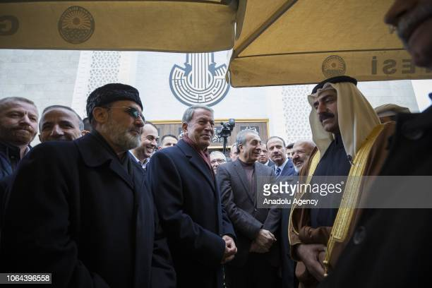 Turkish defense minister Hulusi Akar and Former defense minister of Qatar Hamad bin Ali al Attiyah attend the opening ceremony of Abdullah Bin Ali Al...