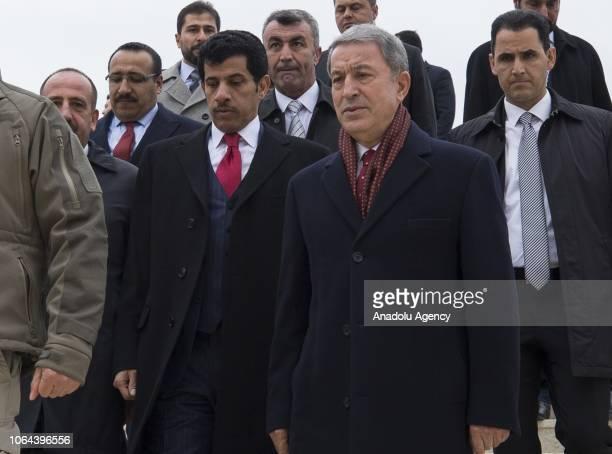 Turkish defense minister Hulusi Akar and Qatari Ambassador Salem bin Mubarak AlShafi attend the opening ceremony of Abdullah Bin Ali Al Attiyah...