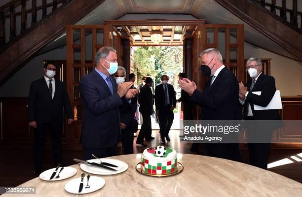 Turkish Defense Minister, Hulusi Akar congratulates Italian Defense Minister, Lorenzo Guerini for Italy's victory of the UEFA EURO 2020 in Istanbul,...