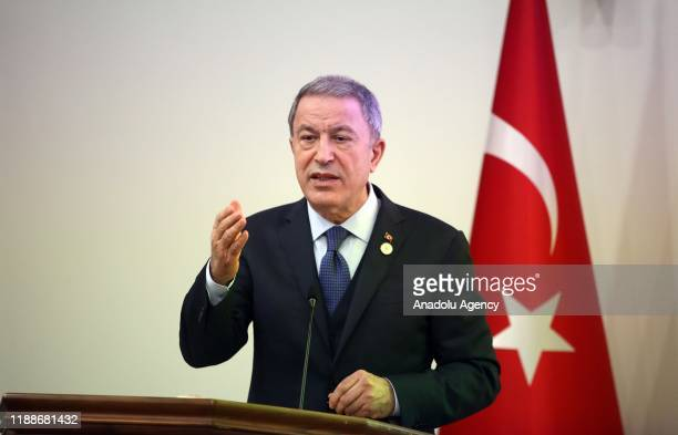 Turkish Defense Minister Hulusi Akar makes a speech during the opening ceremony of the Qatar - Turkish Joint Command Headquarters with the attendance...