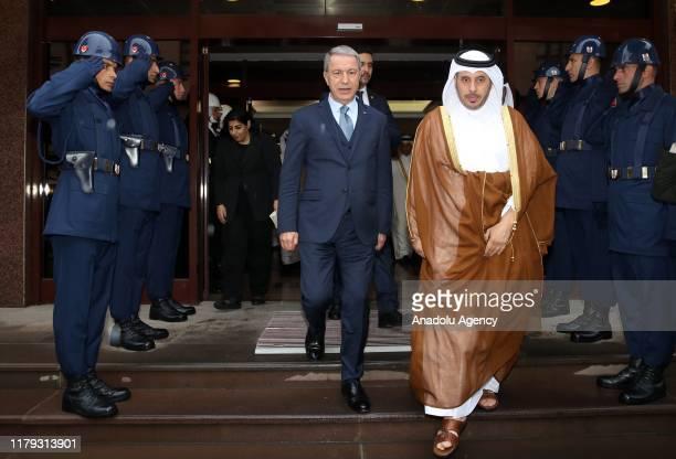 Turkish Defense Minister Hulusi Akar meets Qatari Prime Minister Sheikh Abdullah bin Nasser bin Khalifa Al Thani in Ankara Turkey on November 01 2019