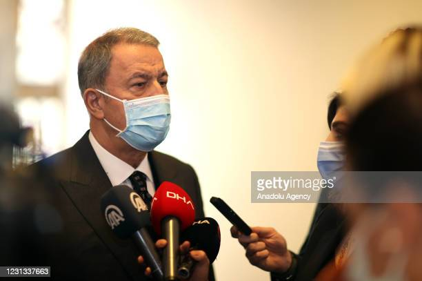 Turkish Defense Minister Hulusi Akar speaks to the press at the Turkish Grand National Assembly, in Ankara, Turkey on February 23, 2021.