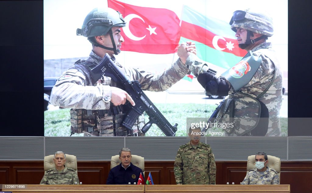Turkish Defense Minister Hulusi Akar in Baku : News Photo
